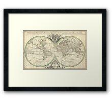 Vintage Map of The World (1691) Framed Print
