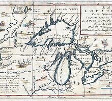 Vintage Map of The Great Lakes (1696)  by BravuraMedia
