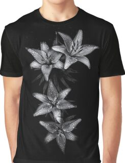 Backyard Flowers In Black And White 7 Graphic T-Shirt