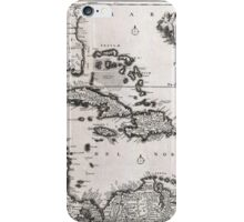 Vintage Map of The Caribbean (1696)  iPhone Case/Skin