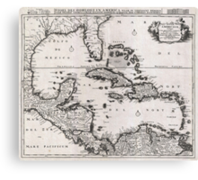 Vintage Map of The Caribbean (1696)  Canvas Print