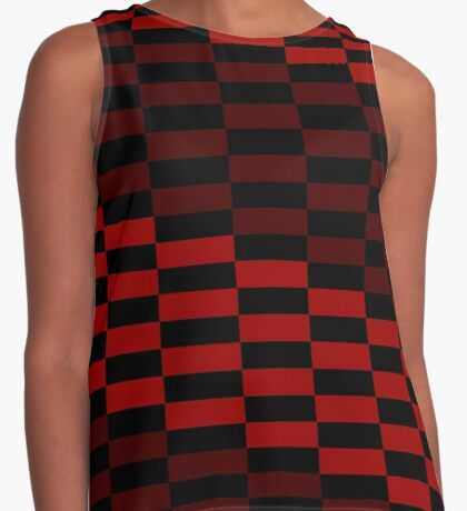 Black and Red Check Contrast Tank