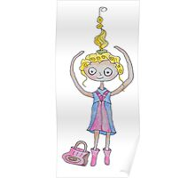 Jumping Girl with a Purse Poster