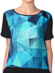 Blue polygonal design  Chiffon Top