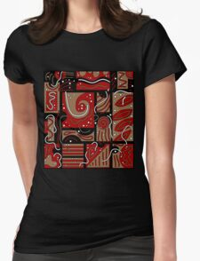 Red and brown abatraction Womens Fitted T-Shirt
