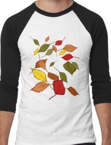 Bunte Herbstblätter im Wind Men's Baseball ¾ T-Shirt