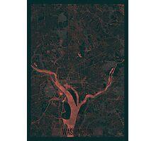 Washington Map Red Photographic Print