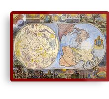 Map of the heavens and the earth (1683) Metal Print