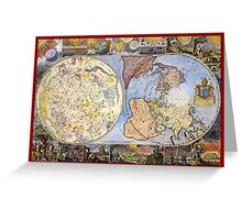 Map of the heavens and the earth (1683) Greeting Card