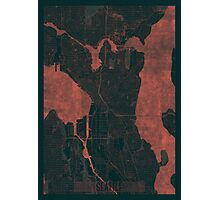 Seattle Map Red Photographic Print