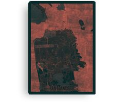 San Francisco Map Red Canvas Print