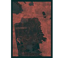 San Francisco Map Red Photographic Print