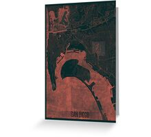 San Diego Map Red Greeting Card