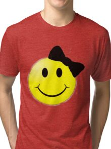 Smiley Face With Bow Tri-blend T-Shirt