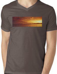 Golden Ocean Island Sunset. Photo Art, Prints, Gifts. Mens V-Neck T-Shirt