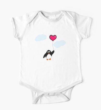 Penguin with Heart Balloon One Piece - Short Sleeve