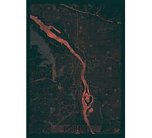Portland Map Red Photographic Print