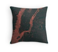 New York Map Red Throw Pillow