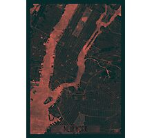 New York Map Red Photographic Print