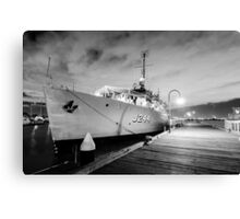 Navy Boat in Black and White Canvas Print