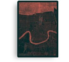 New Orleans Map Red Canvas Print
