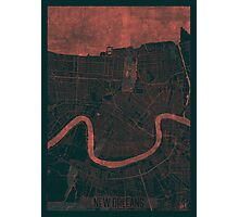 New Orleans Map Red Photographic Print