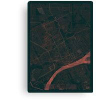 Detroit Map Red Canvas Print