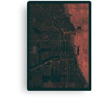Chicago Map Red Canvas Print