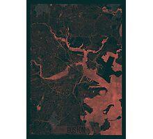 Boston Map Red Photographic Print