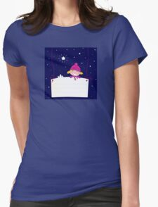 Cute christmas blond hair girl holding a blank banner label for message Womens Fitted T-Shirt