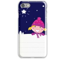 Cute christmas blond hair girl holding a blank banner label for message iPhone Case/Skin