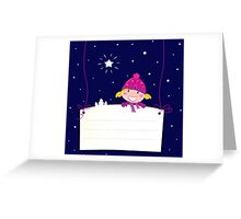 Cute christmas blond hair girl holding a blank banner label for message Greeting Card