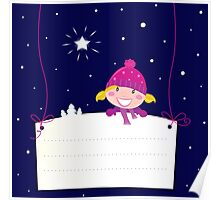 Cute christmas blond hair girl holding a blank banner label for message Poster