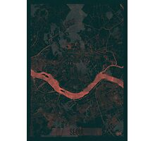 Seoul Map Red Photographic Print