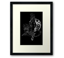Raven in Flight, Crescent Moon Framed Print