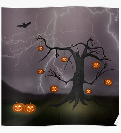 SCARY HALLOWEEN TREE Poster