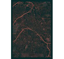 Paris Map Red Photographic Print