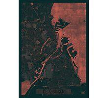 Copenhagen Map Red Photographic Print
