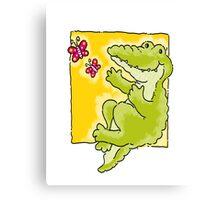 Green Crocodile Canvas Print