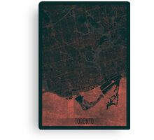 Toronto Map Red Canvas Print