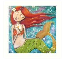 Whimsical Mermaid Girl with Red Hair on Teal - Girls Room Decor Art Print