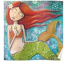 Whimsical Mermaid Girl with Red Hair on Teal - Girls Room Decor Poster