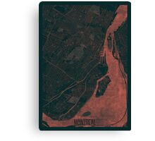 Montreal Map Red Canvas Print