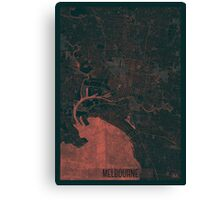 Melbourne Map Red Canvas Print