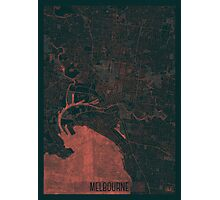Melbourne Map Red Photographic Print