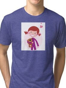 Happy little girl hugging teddy bear. Cute little girl with her new toy - Teddy Bear Tri-blend T-Shirt