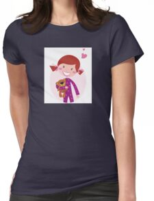 Happy little girl hugging teddy bear. Cute little girl with her new toy - Teddy Bear Womens Fitted T-Shirt