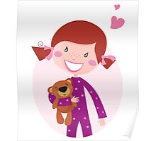 Happy little girl hugging teddy bear. Cute little girl with her new toy - Teddy Bear Poster