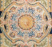 Detail of a Savonnerie carpet made for the Grande Galerie of the Louvre by Bridgeman Art Library