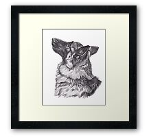 Classic German Shepherd Dog Profile Drawing Framed Print